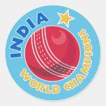india world champions cricket ball sticker