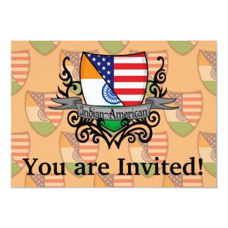 Indian-American Shield Flag 13 Cm X 18 Cm Invitation Card