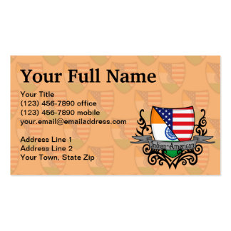 Indian-American Shield Flag Business Card Templates