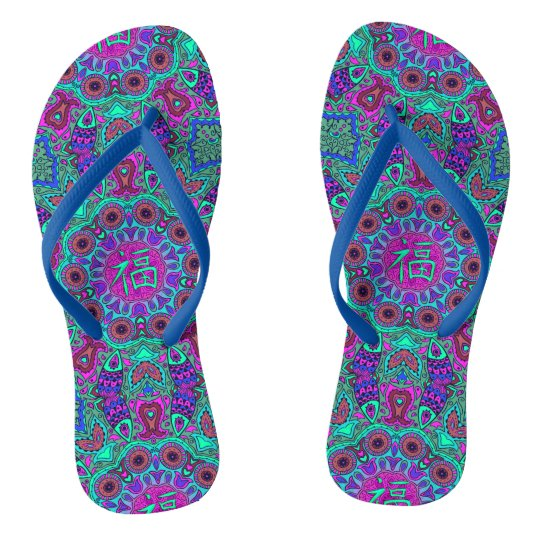 Indian and Chinese Happiness Mandala Flip Flops