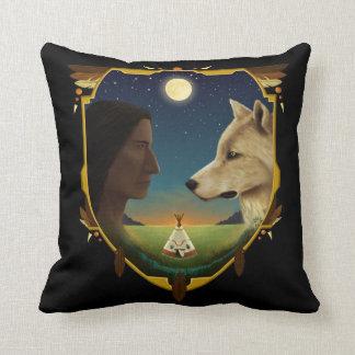 Indian and wolf Penheka Cushion