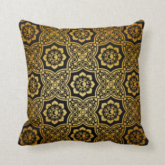Indian Batik - gold Cushion