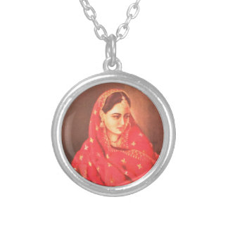 Indian beauty bride girl female woman goddess gift round pendant necklace