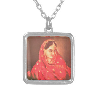 Indian beauty bride girl female woman goddess gift square pendant necklace