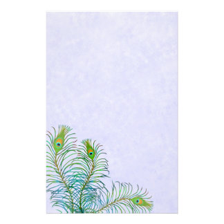 Indian Blue Peacock Feathers Stationery