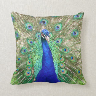 Indian Blue Peacock Throw Pillow Cushions