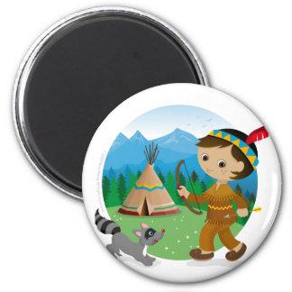 Indian boy 6 cm round magnet