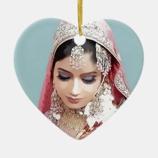 Indian bride ceramic heart decoration
