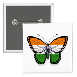 Indian Butterfly Flag 15 Cm Square Badge
