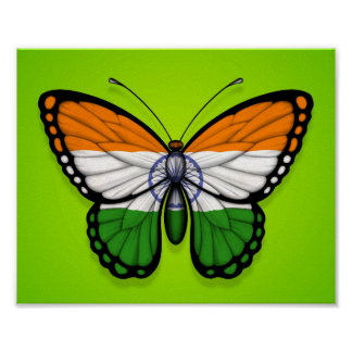 Indian Butterfly Flag on Green Poster