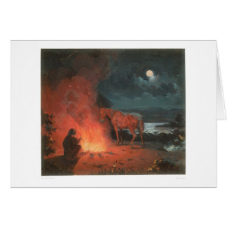 Indian by a Campfire (0744A) Greeting Card