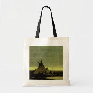 Indian Camp at Dawn by Jules Tavernier Tote Bags