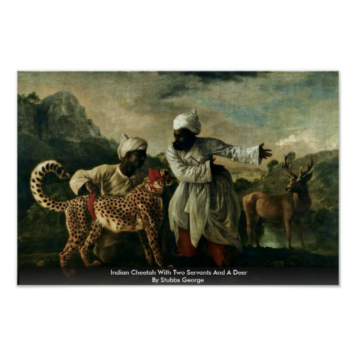 Indian Cheetah With Two Servants And A Deer Poster