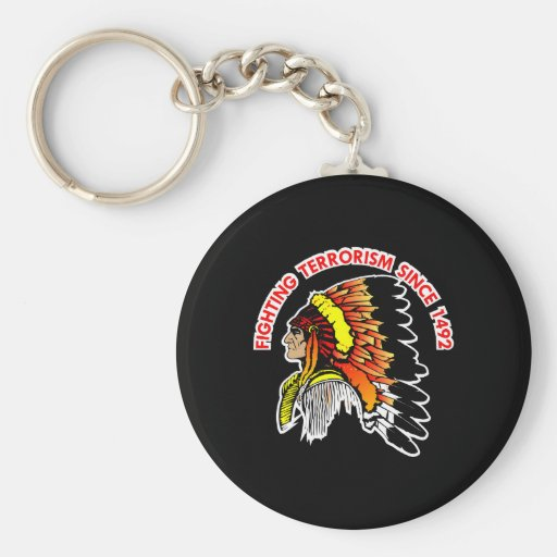 Indian Chief Fighting Terrorism Black Key Chain