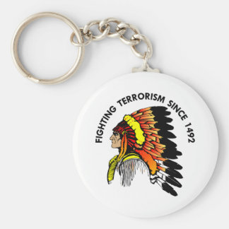 Indian Chief Fighting Terrorism Key Chain
