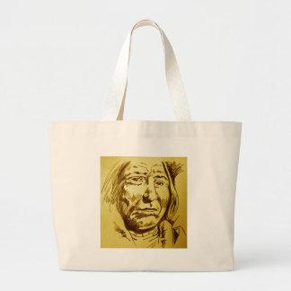 Indian Chief Pencil Sketch Tote Bags