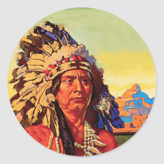 Indian Chief Round Sticker