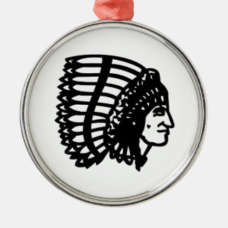 Indian Chief Silver-Colored Round Decoration