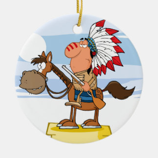 Indian Chief With Gun On Horse Round Ceramic Decoration