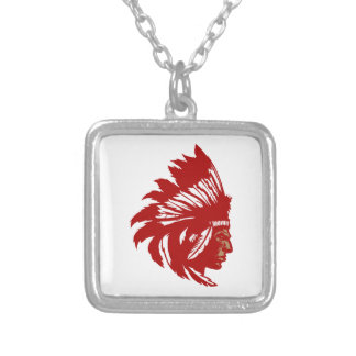 Indian chieftain head native American chief head Square Pendant Necklace