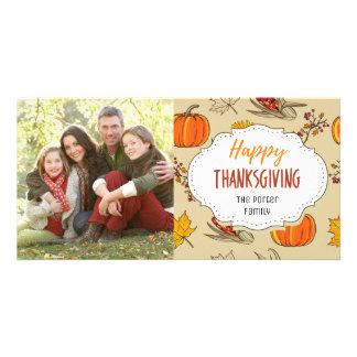 Indian Corn Pumpkin Thanksgiving Family Photo Card