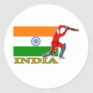 Indian Cricket Player Classic Round Sticker