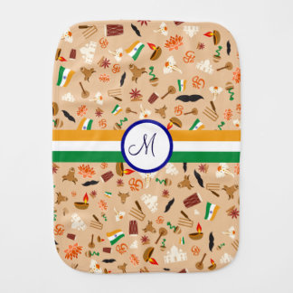 Indian cultural items with flag and monogram baby burp cloths