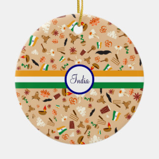 Indian cultural items with flag and text christmas ornament