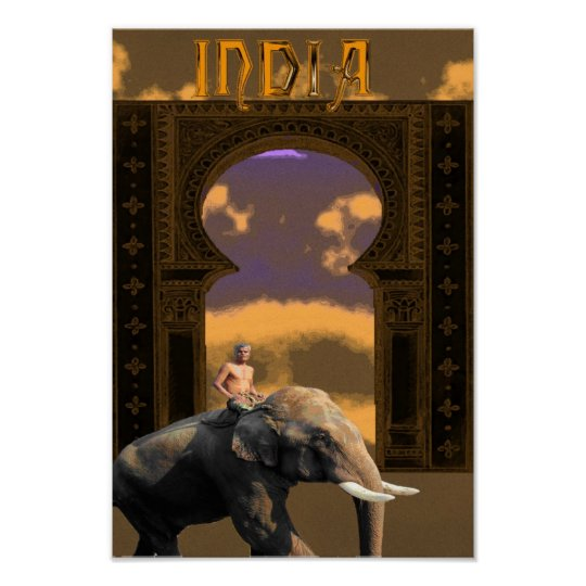 Indian Elephant and Rider Poster