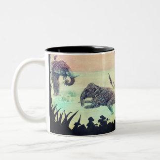Indian Elephant bathing nature sunset silhouette Two-Tone Coffee Mug