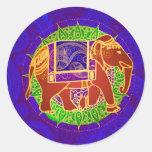 Indian Elephant Envelope Seal Round Sticker