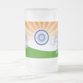 Indian elephant frosted glass beer mug