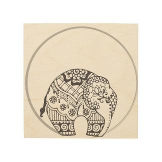 Indian Elephant Henna Circle Wood Art