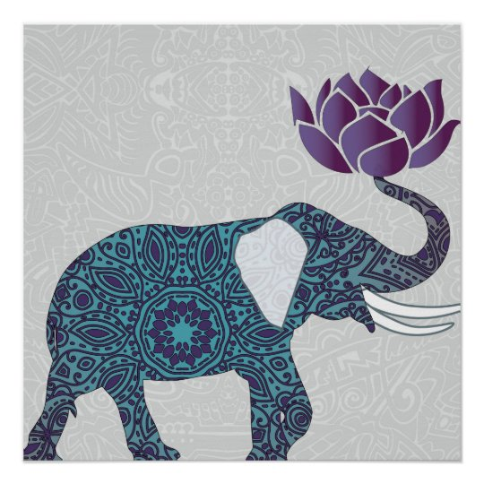 Indian Elephant Teal And Purple Lotus Poster