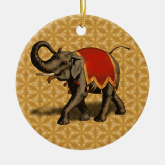 Indian Elephant w/Red Cloth Christmas Ornament