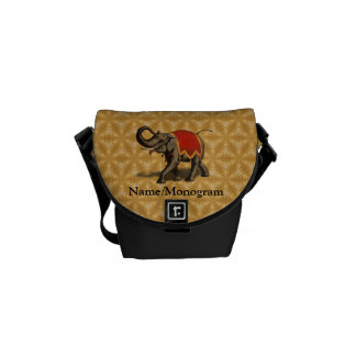 Indian Elephant w/Red Cloth Courier Bag