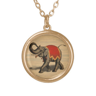 Indian Elephant w/Red Cloth Gold Plated Necklace