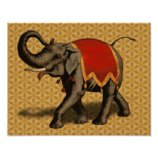 Indian Elephant w/Red Cloth Poster
