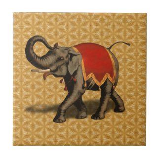 Indian Elephant w/Red Cloth Small Square Tile