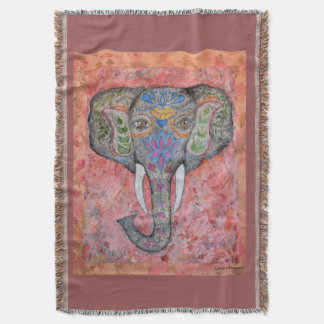 Indian Elephant Watercolor Art Throw Blanket