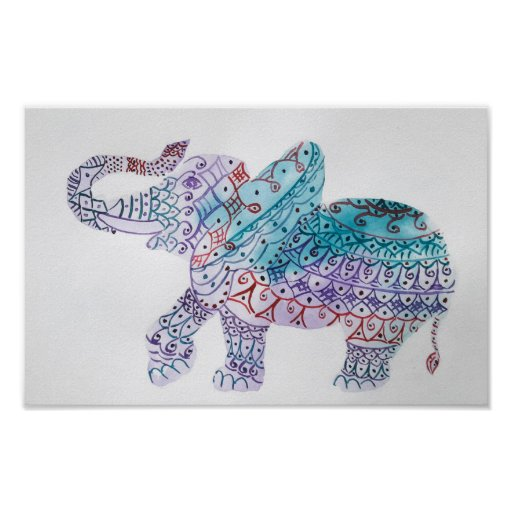 Indian elephant, watercolor poster