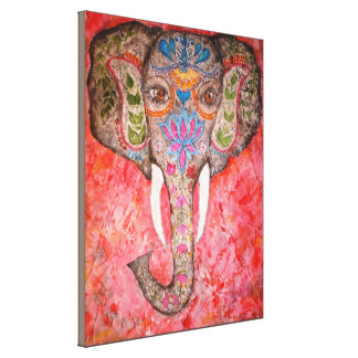 Indian Elephant Watercolor Print Canvas18x22