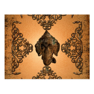 Indian elephant with  floral elements postcard