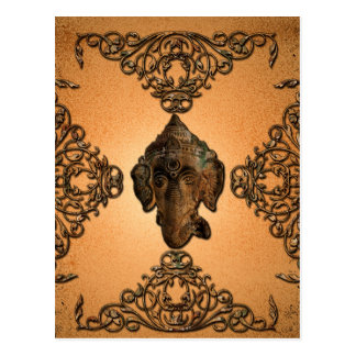 Indian elephant with grunge and floral elements postcard