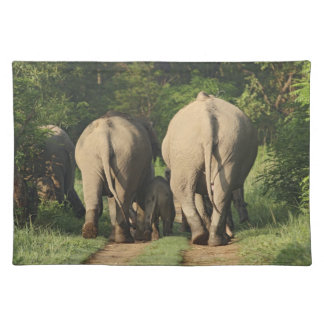 Indian Elephants on the jungle track,Corbett Placemat