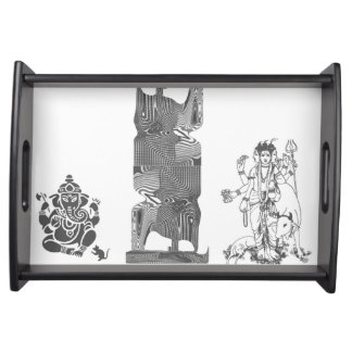 Indian,English Design, Small Serving Tray, Black Serving Tray