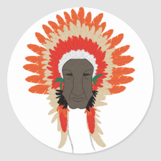 indian feathers face mask round sticker