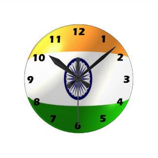 Indian Flag Design Round Clock