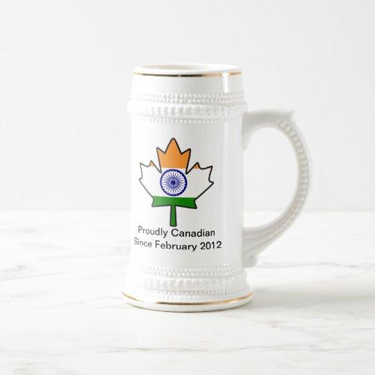 Indian Flag Maple Leaf Stein
