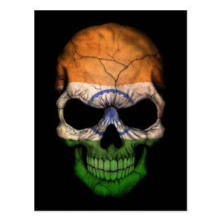 Indian Flag Skull on Black Postcard